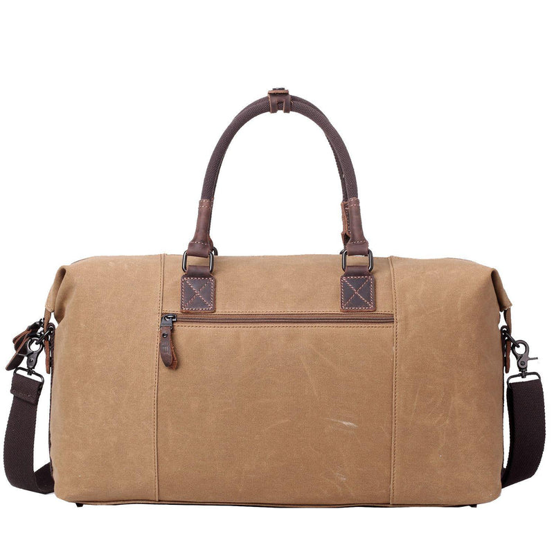 Brown Canvas Classic Travel Bag//Holdall with Leather Trim Troop London