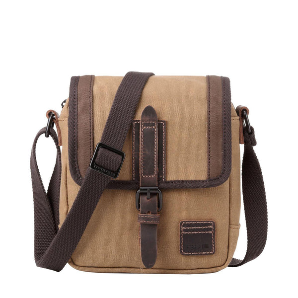 TRP0485 Troop London Heritage Waxed Canvas Across Body Bag, Shoulder Bag, Canvas Bag for Travel and Work - Troop London