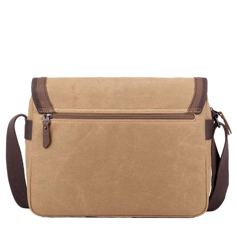 TRP0486 Troop London Heritage Waxed Canvas Laptop Messenger Bag, Tablet Friendly for Travel and Work