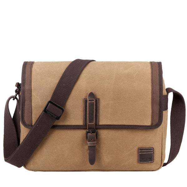 TRP0486 Troop London Heritage Waxed Canvas Laptop Messenger Bag, Tablet Friendly, Canvas Bag for Travel and Work - Troop London
