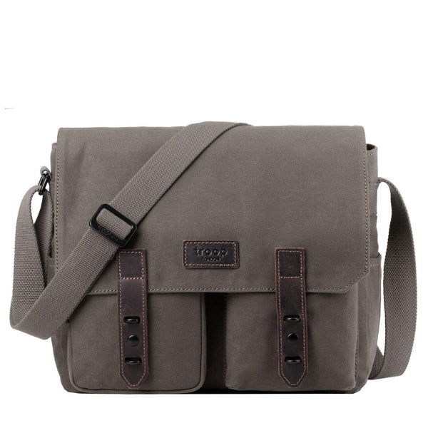 TRP0489 Troop London Heritage Waxed Canvas Laptop Messenger Bag, Canvas Bag for Travel and Work - Troop London