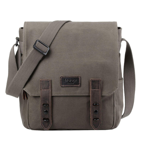 TRP0490 Troop London Heritage Waxed Canvas Messenger Bag, Tablet Friendly, Canvas Bag for Travel and Work - Troop London
