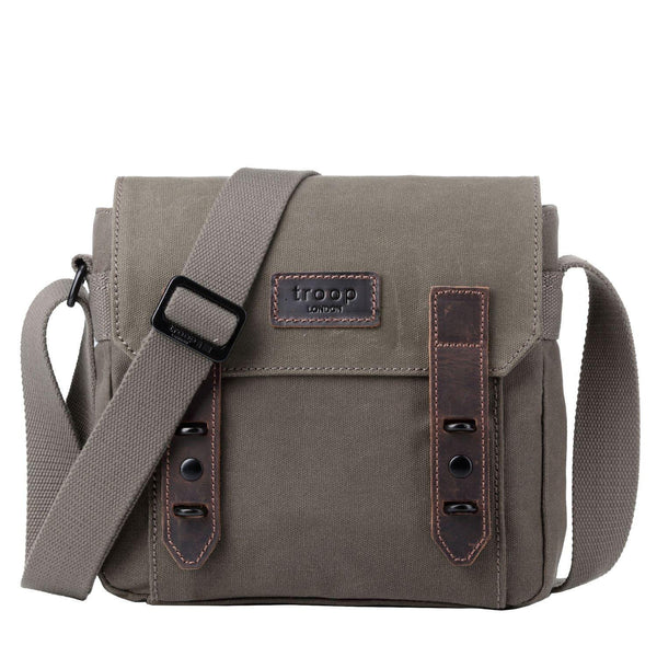 TRP0491 Troop London Heritage Waxed Canvas Across Body Bag, Shoulder Bag, Canvas Bag for Travel and Work