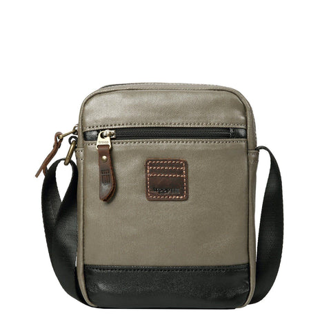 TRP0516 Troop London Heritage Coated Canvas Casual Crossbody Bag, Small Acrossbody Bag (Olive Black) - troop-london-official