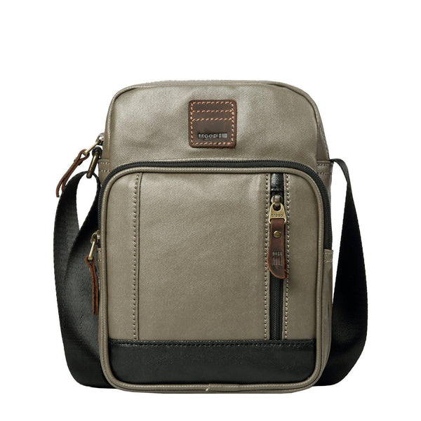 TRP0518 Troop London Heritage Coated Canvas Casual Crossbody Bag, Small Acrossbody Bag - troop-london-official