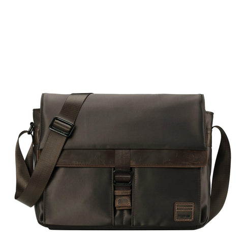 TRP0524 Troop London Heritage Nylon Messenger Bag, Laptop Messenger Bag (Dark Brown) - troop-london-official
