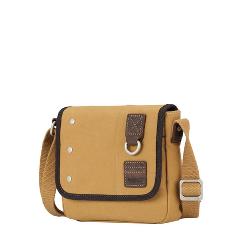 TRP0530 Troop London Heritage Washed Canvas Across Body Bag, Small Crossbody Bag (Mustard) - troop-london-official
