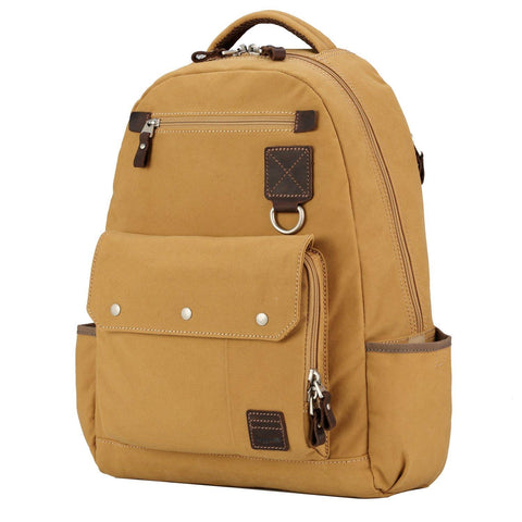 TRP0531 Troop London Heritage Washed Canvas Daypack, Laptop Backpack (Mustard) - troop-london-official