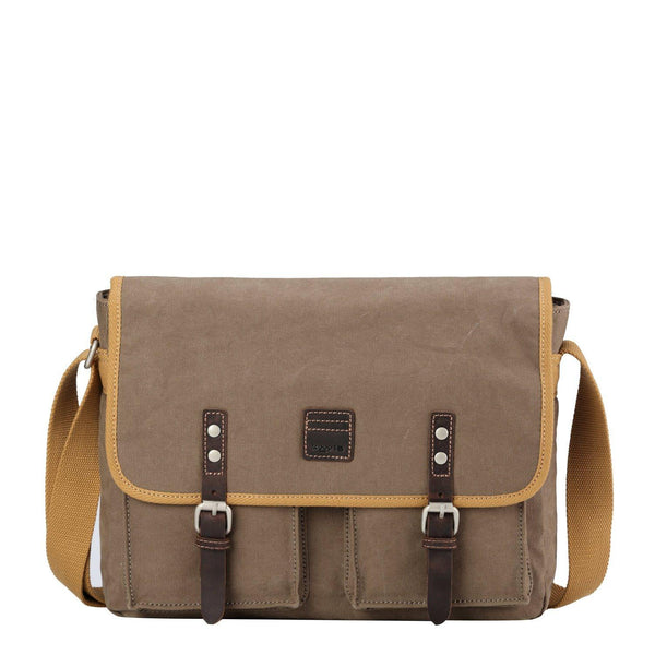 TRP0532 Troop London Heritage Washed Canvas Messenger Bag, Laptop Satchel