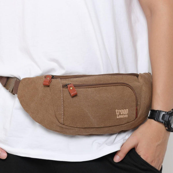 L1513 Troop London Classic Canvas Waist Bag (Brown) - Troop London
