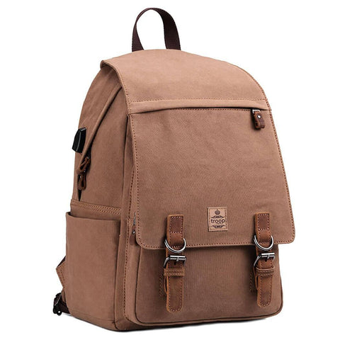 TRP0423A Troop London Heritage Canvas Leather Laptop Backpack Up To 15.6 Inch, Canvas Leather Smart Casual Daypack ║ H44 x W28 x D22 cm - troop-london-official
