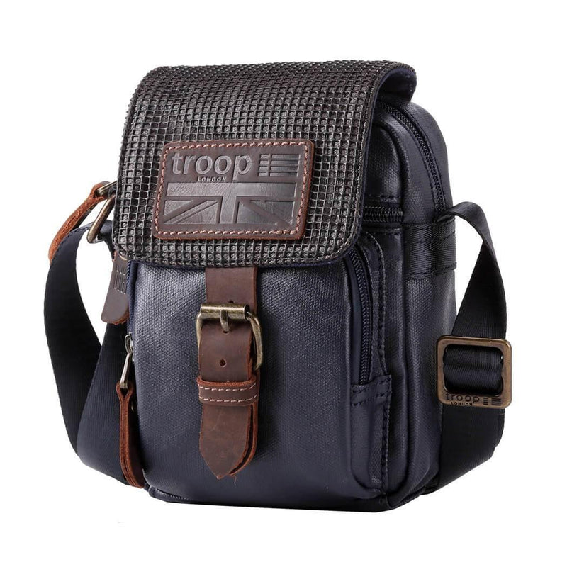 TRP0457 Troop London Heritage Canvas Across Body Bag, Small Secure Travel Bag - Troop London