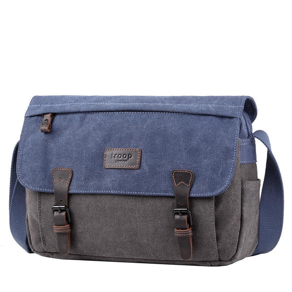 TRP0463 Troop London Heritage Waxed Canvas Messenger Bag, Smart Travel Bag Tablet Friendly - troop-london-official