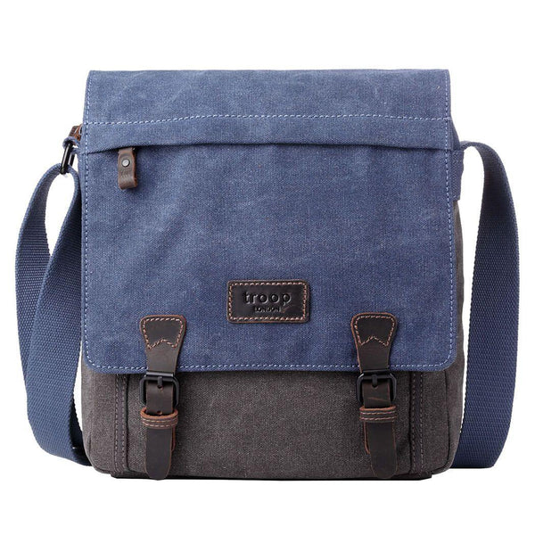 TRP0465 Troop London Heritage Waxed Canvas Messenger Bag, Smart Travel Bag - Troop London