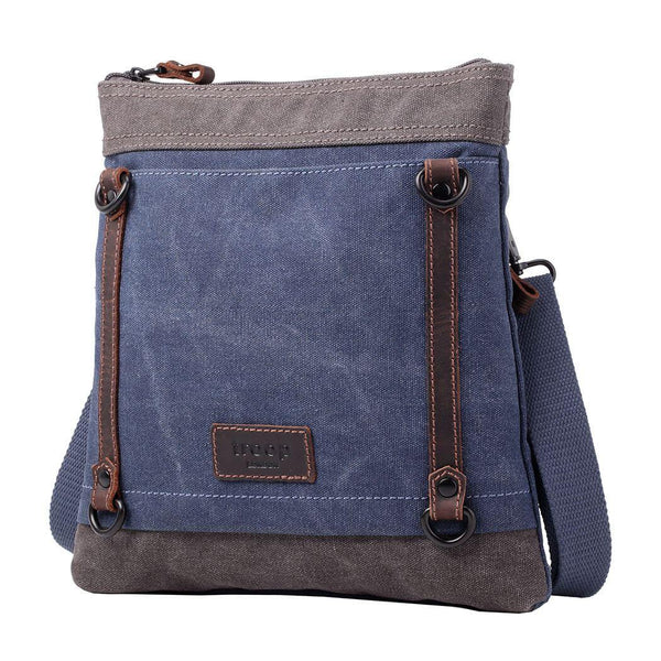TRP0467 Troop London Heritage Waxed Canvas Across Body Bag, Slim Travel Bag - troop-london-official