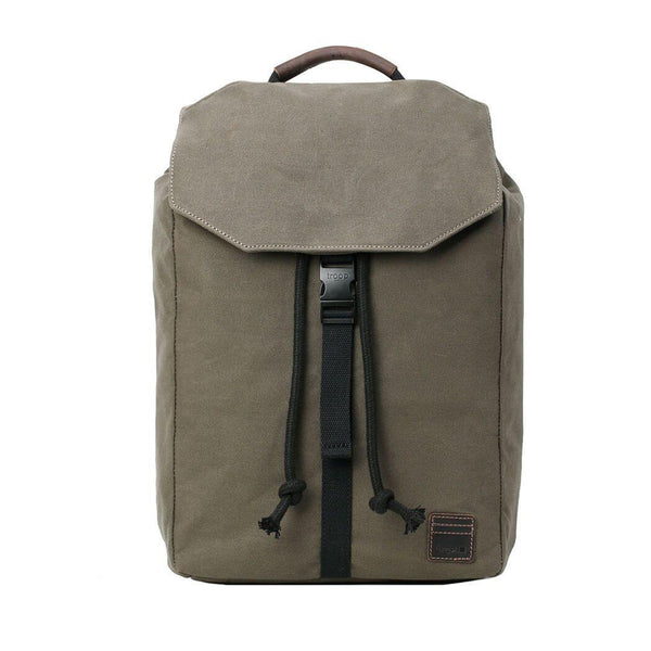 TRP0472 Troop London Heritage Waxed Canvas Laptop Backpack, Casual Daypack for Travel and Work - troop-london-official