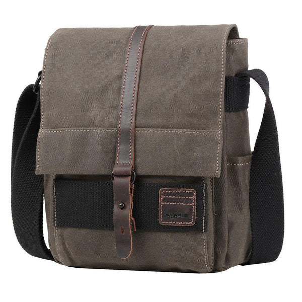TRP0477 Troop London Heritage Waxed Canvas Across Body Bag, Slim Travel Bag Tablet Friendly - Troop London