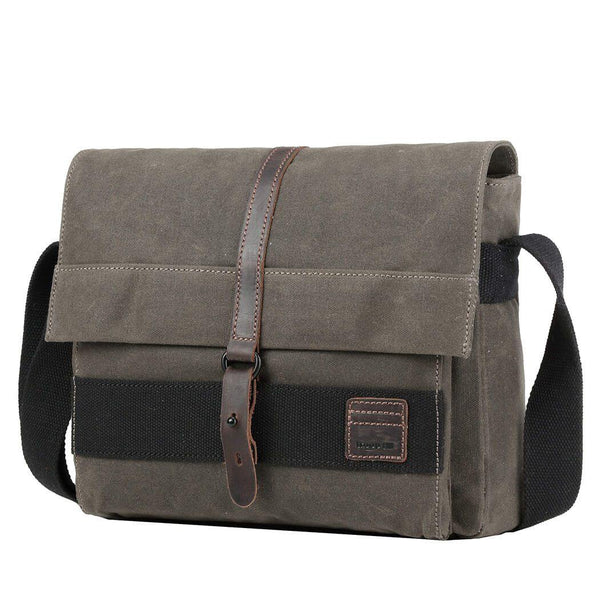 TRP0478 Troop London Heritage Waxed Canvas Messenger Bag, Slim Travel Bag Tablet Friendly - Troop London