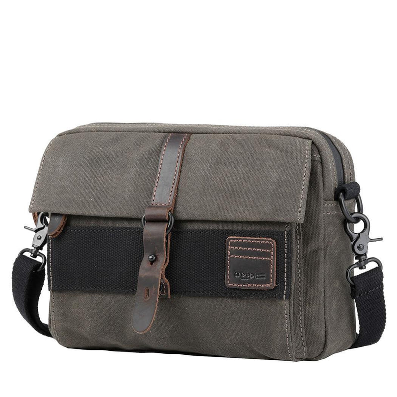 TRP0479 Troop London Heritage Waxed Canvas Small Messenger Bag, Slim Travel Bag - Troop London