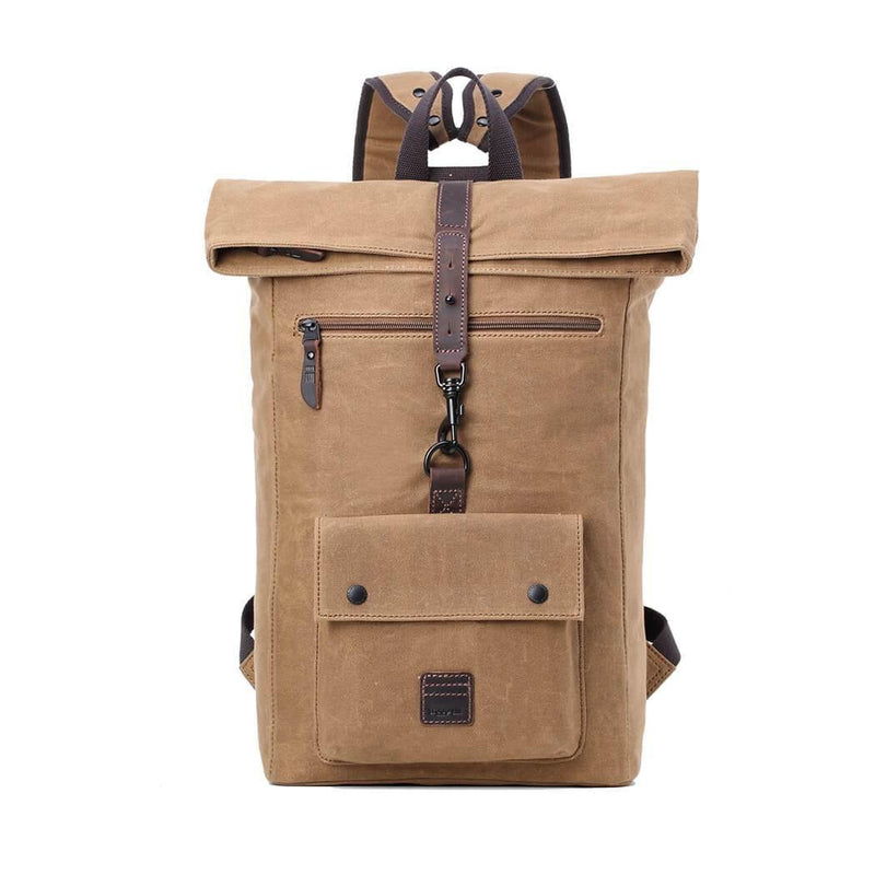 TRP0480 Troop London Heritage Waxed Canvas Fold Top Laptop Backpack, Tablet Friendly, Canvas Backpack for Travel and Hiking - Troop London