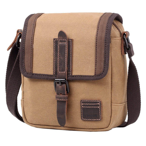 TRP0485 Troop London Heritage Waxed Canvas Across Body Bag, Shoulder Bag, Canvas Bag for Travel and Work