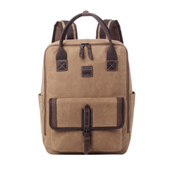 TRP0487 Troop London Heritage Waxed Canvas Laptop Backpack, Canvas Backpack for Travel and Work