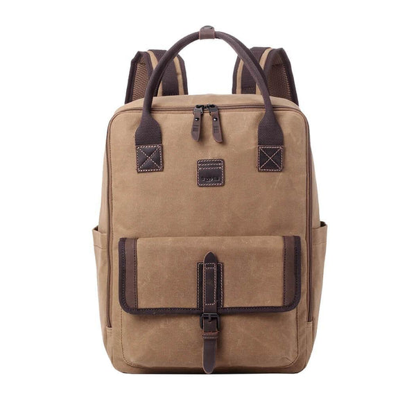 TRP0487 Troop London Heritage Waxed Canvas Laptop Backpack, Canvas Backpack for Travel and Work - Troop London