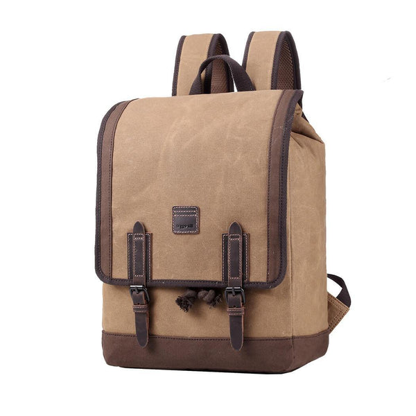 TRP0488 Troop London Heritage Waxed Canvas Laptop Backpack, Canvas Backpack for Travel and Work - Troop London