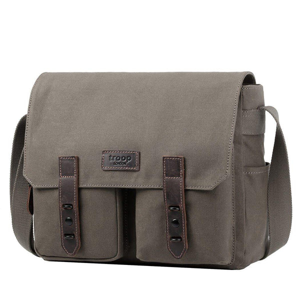 TRP0489 Troop London Heritage Waxed Canvas Laptop Messenger Bag, Canvas Bag for Travel and Work