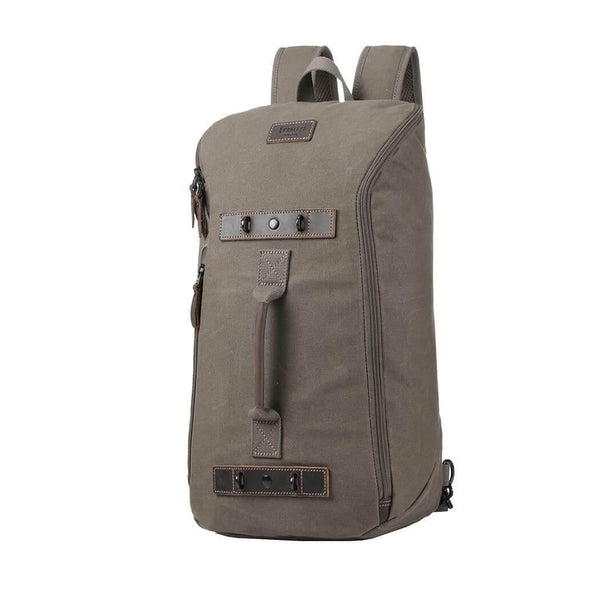 TRP0492 Troop London Heritage Waxed Canvas Laptop Backpack, Canvas Backpack for Travel and Hiking - Troop London
