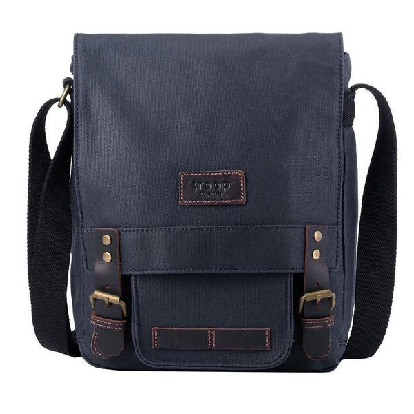 TRP0493 Troop London Heritage Canvas Messenger Bag, Tablet Friendly, Canvas Bag for Travel and Work - Troop London