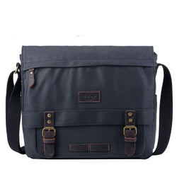 TRP0494 Troop London Heritage Canvas Laptop Messenger Bag, Canvas Bag for Travel and Work - Troop London