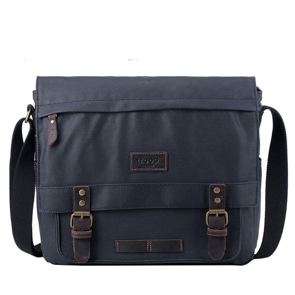 TRP0494 Troop London Heritage Canvas Laptop Messenger Bag, Canvas Bag for Travel and Work