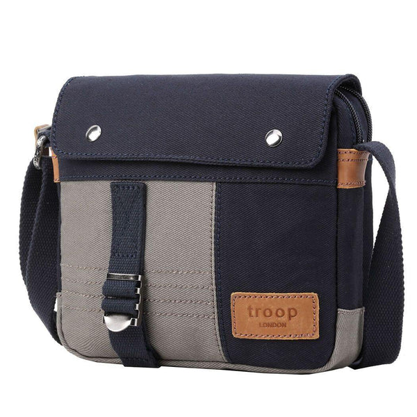 TRP0497 Troop London Heritage Canvas Across Body Bag, Tablet Friendly, Shoulder Bag