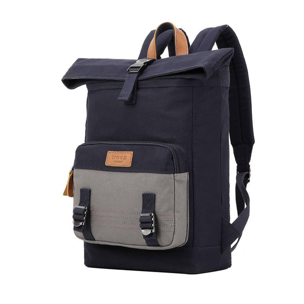 TRP0498 Troop London Heritage Canvas Laptop Backpack, Canvas Backpack for Travel and Work - Troop London