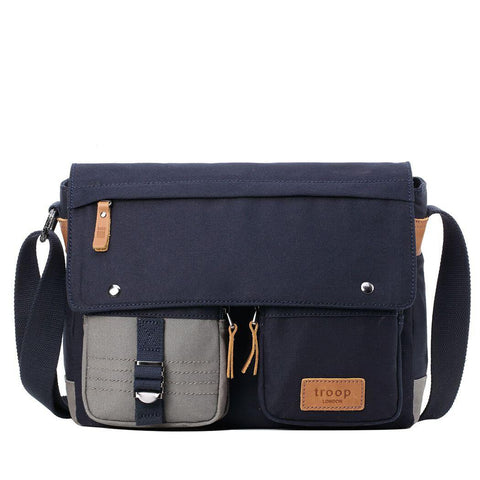 TRP0499 Troop London Heritage Canvas Laptop Messenger Bag, Canvas Bag for Travel and Work - troop-london-official