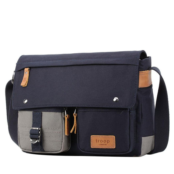 TRP0499 Troop London Heritage Canvas Laptop Messenger Bag, Canvas Bag for Travel and Work - Troop London