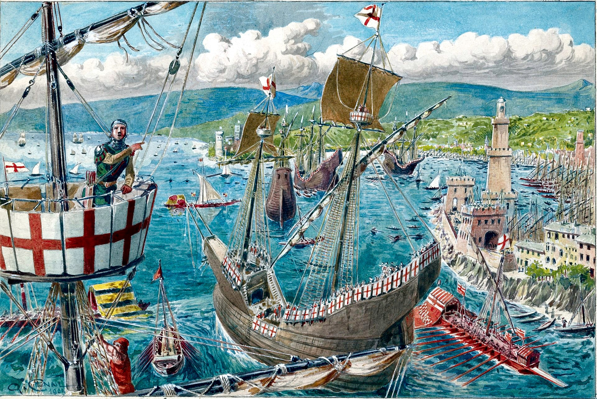 A painting showing the port and fleet of Genoa in the 14th century