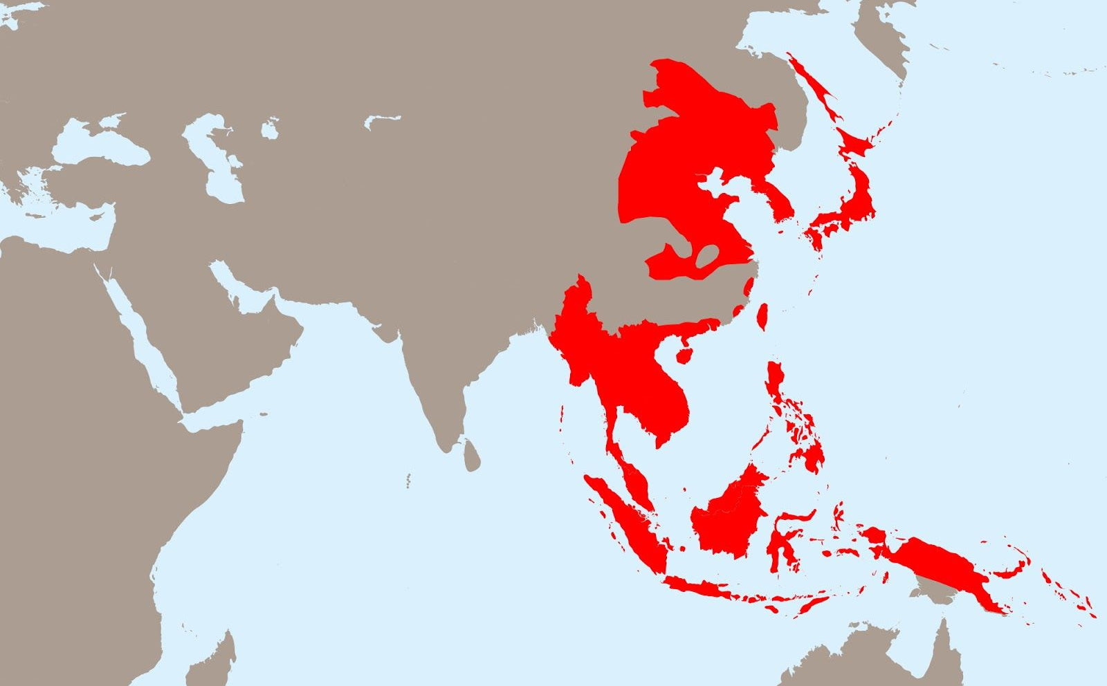 The Japanese Empire at its greatest extent. Manchuria is shown in red in the top left.