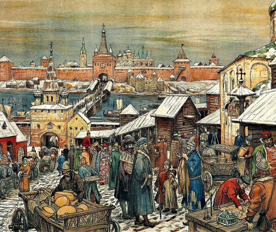 Painting of the markets of Novgorod, Russia