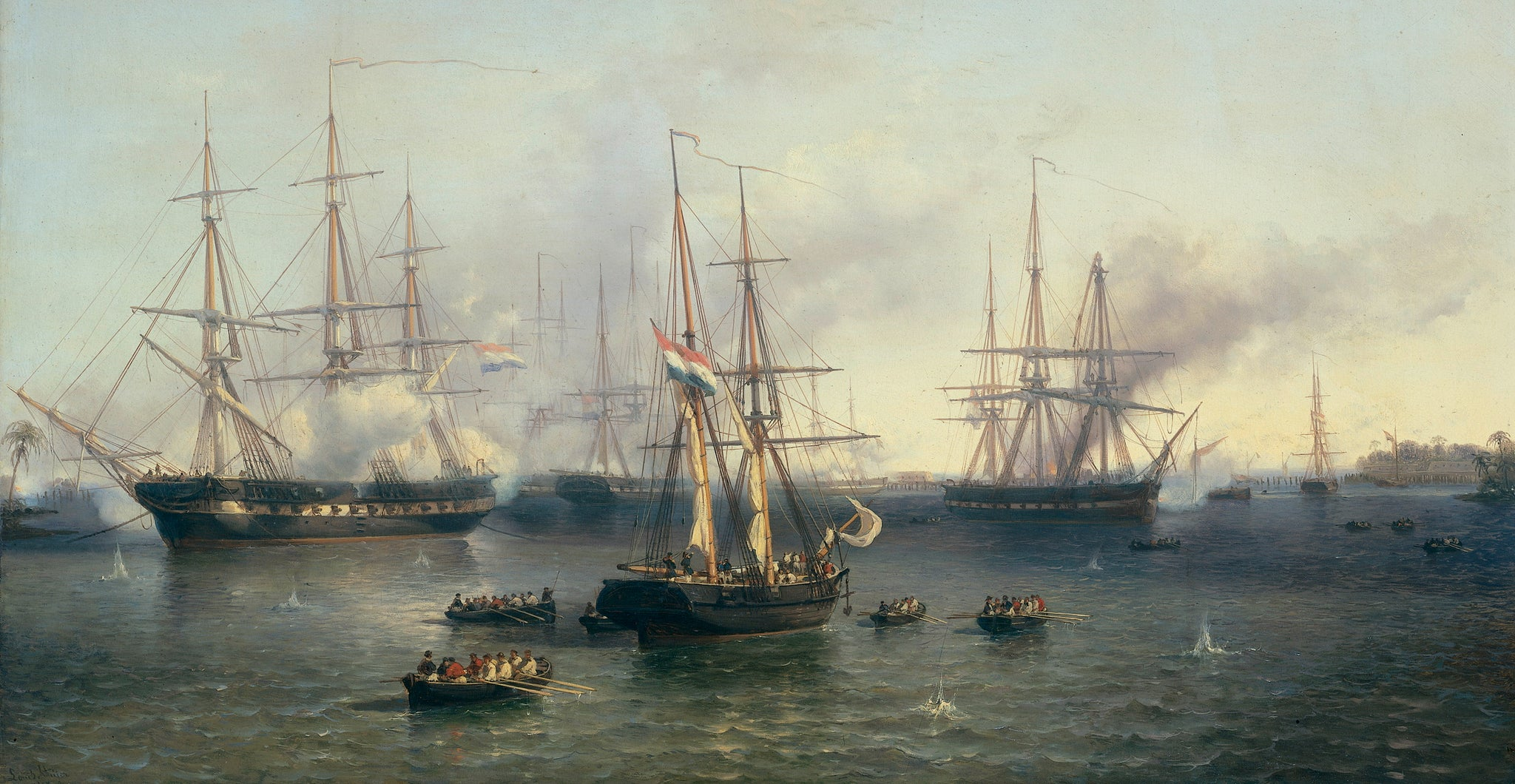 A Dutch painting of the conquest of Palembang, 1857.