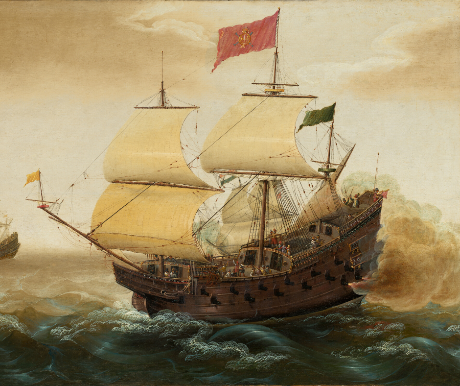 A Spanish galleon engaged in a naval battle.