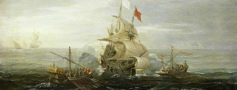 French ships under attack from Barbary pirates.