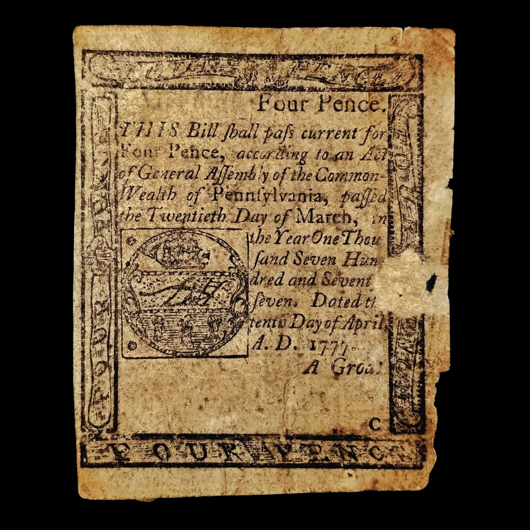 American Revolution Four Pence Note - Pennsylvania, 1777