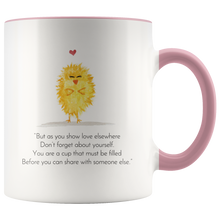 "Load image into Gallery viewer, ""Zen Pig and the Self-love Chick"" Mug"