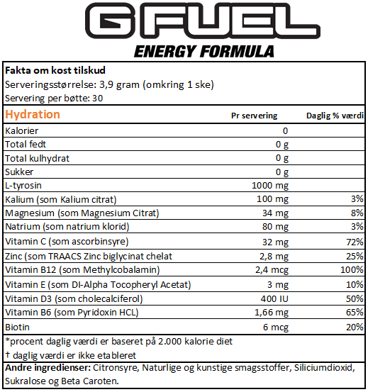 Gfuel hydration dansk label