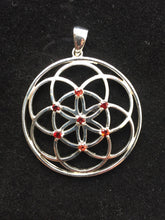Load image into Gallery viewer, Sacred Geometry, Sterling Silver Seed of Life Pendant with Garnet Gems - Medium Size