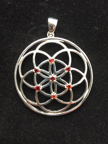 Sacred Geometry, Sterling Silver Seed of Life Pendant with Garnet Gems - Medium Size
