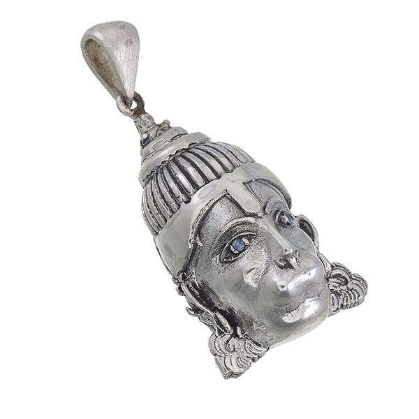 Hanuman Pendant in Sterling Silver with Gemstone (Aquamarine, Garnet, or Tsavorite (green garnet)) Eyes, Lord Hanuman, Hanuman-ji