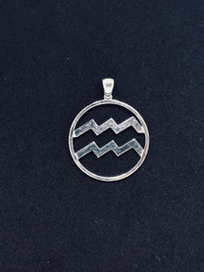 Zodiac, Aquarius Astrological Sign Pendant in 925 Sterling Silver